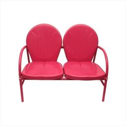 NorthLight Pink Retro Metal Tulip 2-Seat Double Chair