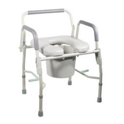 Fabrication Enterprises 43-2342-2 Drop-Arm Commode, Padded Arms with Adjustable Height -2 Each