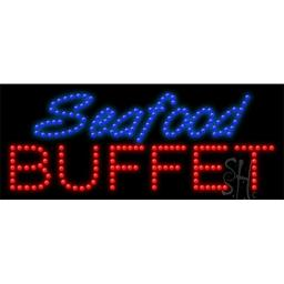 Sign Store L100-0193 Seafood Buffet Animated LED Sign, 27 x 11 x 1 In.