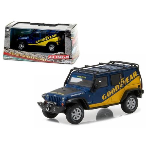 Greenlight 86080 1 isto 43 2016 Jeep Wrangler Unlimited Good Year with Roof Rack, Fender Flares & Winch Diecast Model Car
