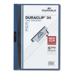 Durable Office Products DBL220307 DuraClip Report Cover  30 Sheet Capacity  11 in. x 8.5 in.  DK Blue
