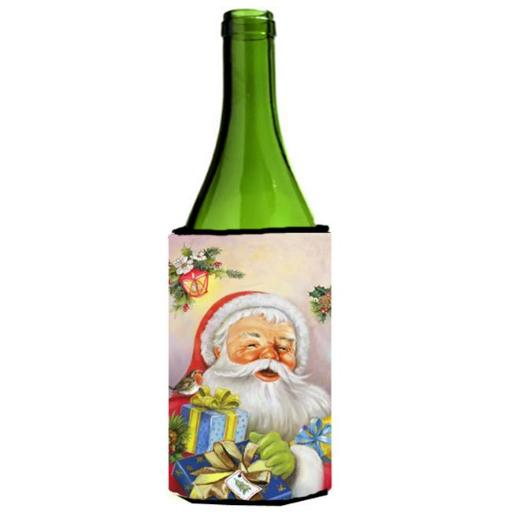 Carolines Treasures APH5814LITERK Christmas Santa Claus Presents Wine Bottle Can cooler Hugger