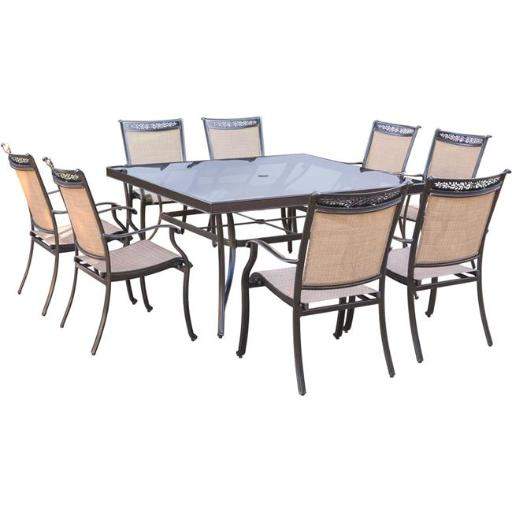 Hanover FNTDN9PCSQG Fontana Dining Set with Sling Dining Chairs, Square Glass Dining Table - 9 piece