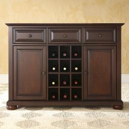 Crosley Alexandria Buffet Server / Sideboard Cabinet with Wine Storage in Vintage Mahogany Finish