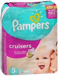 Pampers Cruisers Diapers 3-Way Fit Jumbo Size 5, 27+lb - 4 packs of 21, Pack of 2