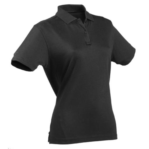 24-7 Womens Tactical Polo Shirt, Black thumbnail
