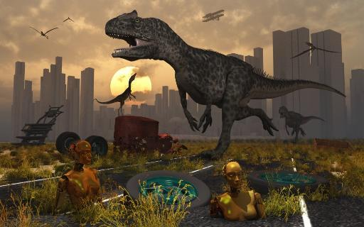 Dinosaurs run wild and robotic androids melt into the highway Poster Print