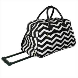 All-Seasons 8112022-165BW 21 in. ZigZag Collection Carry-On Rolling Duffel Bag, Black White
