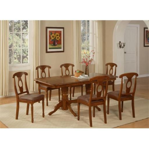 East West Furniture NANA7-SBR-C 7 Piece Dining Table Set For 6-Oval Table With Leaf and 6 Chairs For Dining