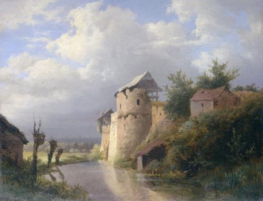 The Old Fortress, By Louwrens Hanedoes, 1840 -60, Dutch Painting, Oil On Panel. Ruins Of An Old Castle On The Waterfront Poster Print