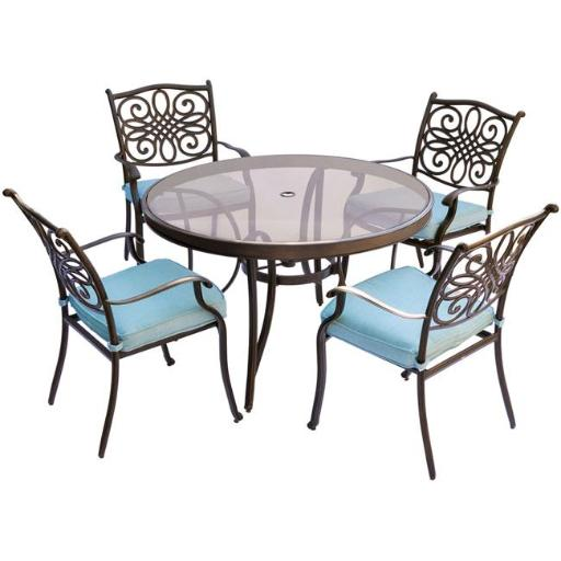 Hanover TRADDN5PCG-BLU Traditions Dining Set with Chairs & Glass Table - 5 Piece, Blue