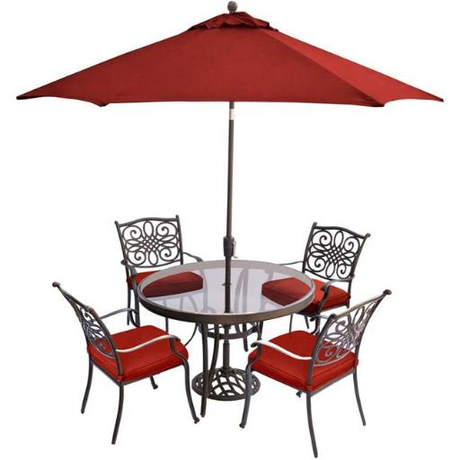 Hanover TRADDN5PCG-SU-R 48 in. & 9 ft. Traditions Dining Set with Glass-Top Table with Umbrella Stand, Red - 5 Piece