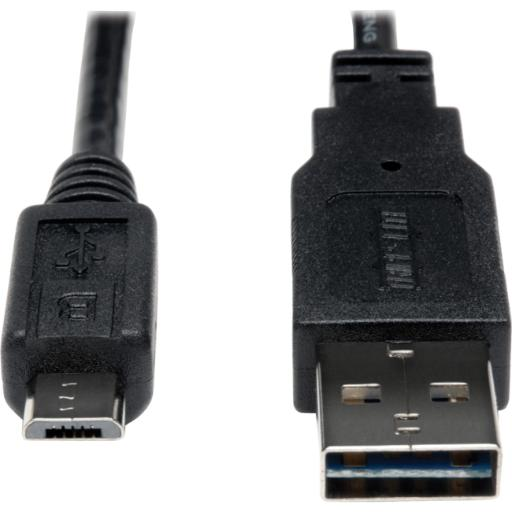 Tripp lite ur050-001-24g usb 2.0 reversible charging sync cable 24awg a to micro b 1ft
