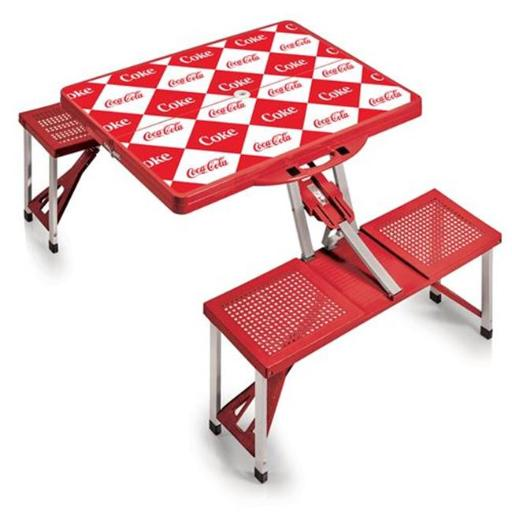 Picnic Time 811-00-100-915-0 Coca Cola - Red Checkered Portable Picnic Table