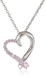 """Sterling Silver Pink Cubic Zirconia Heart Pendant Necklace, 18"""""""