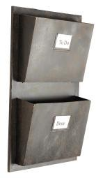 Linon Industrial Metal Two Slot Mailbox