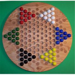 Charlies Woodshop W-1925.3 18 in. Circle Oiled Chinese Checkers Wooden Marble Game Board with 42 Birch Inlaid Spots , Red Oak