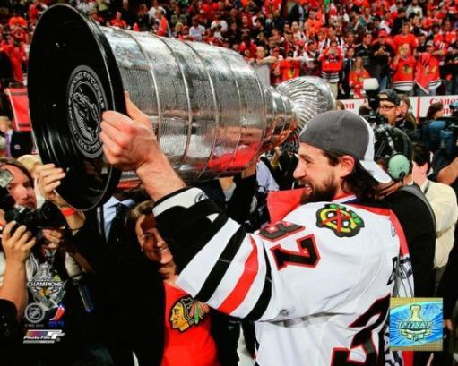 Adam Burish with Stanley Cup Game Six of the 2010 Stanley Cup Finals Photo Print GEDHDS9KRR7NCO6Y