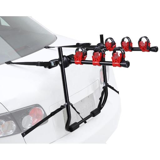 Yescom 3 Bike Bicycle Carrier Car Truck SUV Foldable Trunk Mount Rear Rack w/ Straps