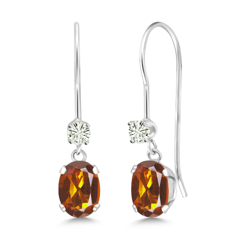 14K White Gold Dangle Earrings Oval Orange Red Madeira Citrine and Forever Classic Created Moissanite 0.12ct (DEW) by Charles & Colvard