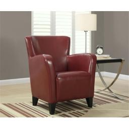 Monarch Specialties I 8068 Red Leather-Look Club Chair