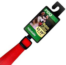 Warren pet products 2938001 5 8x12 to 18 adjustable nylon dog collar  red