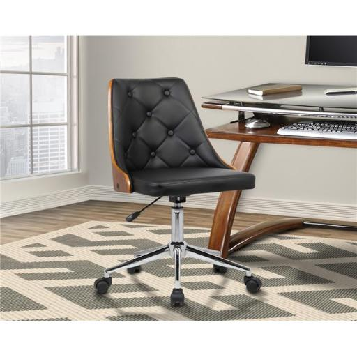 Armen Living LCDIOFCHBLACK Diamond Mid-Century Office Chair in Chrome with Tufted Black Faux Leather Walnut Veneer Back