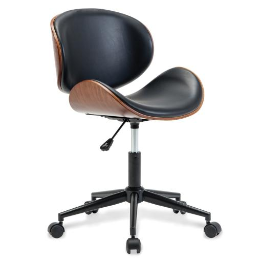 BELLEZE Mid-Century Swivel Office Computer Task Executive Desk Chair w/ Adjustable Height, Black