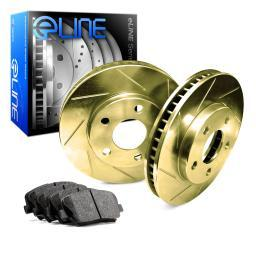[FRONT] Gold Edition Slotted Brake Rotors & Semi-Met Brake Pads