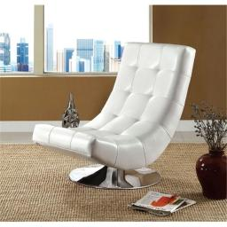 Furniture Of America IDF-AC6912W Trinidad Contemporary Leatherette Swivel Chair - White
