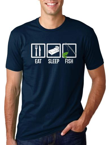 Eat Sleep Fish Funny Fishing T shirt Hilarious Boating Tee for Fishermen