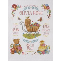 """Sweet Baby Birth Record Counted Cross Stitch Kit 10.5""""X13.5"""" 14 Count"""