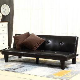 Belleze Convertible Sofa Faux Leather Futon Bed Sleeper Couch w/ (2) Toss Pillow, Brown