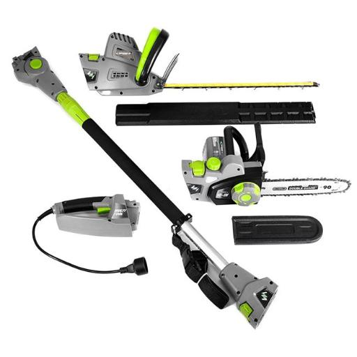 Earthwise CVP41810 4-in-1 Multi-Tool Pole with Handheld Hedge Trimmer Pole & Handheld Chain Saw