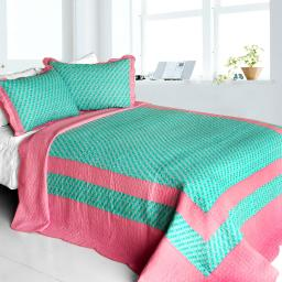 Geek In The Pink Cotton 3PC Vermicelli-Quilted Printed Quilt Set (Full/Queen)