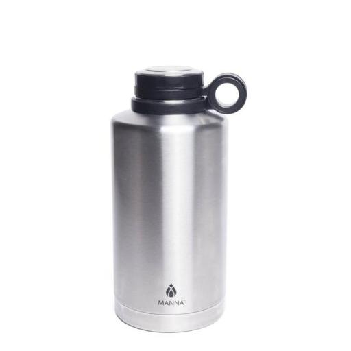 Manna 6407274 64 oz Silver Stainless Steel Plain Ring Growler Water Bottle BPA Free