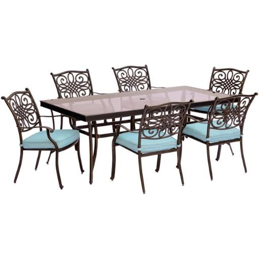 Hanover TRADDN7PCG-BLU Traditions Dining Set with Chairs & Glass Table - 7 Piece, Blue