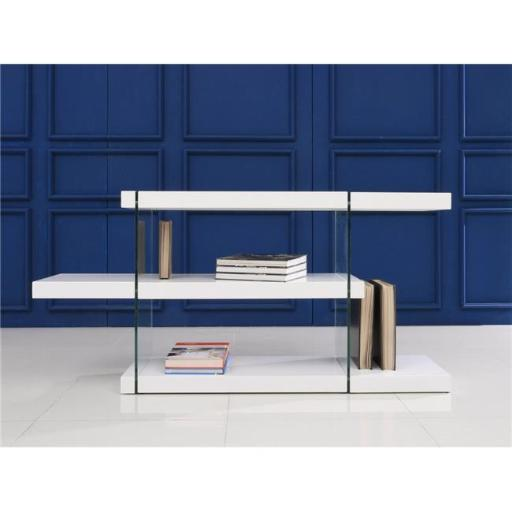 Casabianca Furniture CB-111-WW-RTN Il Vetro Glass Bookcase, White Lacquer - 29 x 55 x 13 in.