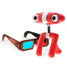 Minoru Dual Lens 3D 640x480 USB 2.0 Webcam w/5 Pairs of 3D Glasses - Red