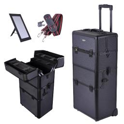 """AW 2in1 38"""" Makeup Aluminum Rolling Cosmetic Train Case Hair Style Lockable Box Black"""