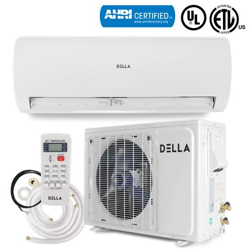 Della 12,000 BTU 230V Mini Split Ductless Wall Mounted Air Conditioner Inverter with Heat Pump System Full Set 17 SEER