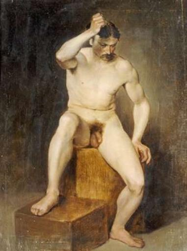 A Seated Male Nude Poster Print by Hans Von Staschiripka Canon BWW31A7TMUTQ1XSU