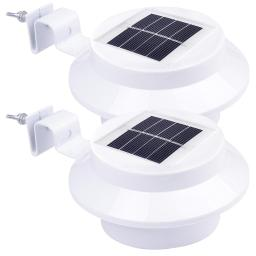 Yescom Outdoor 3 LED Solar Power Gutter Light IP44 Cool White Yard Garden Doorway Lamp with Bracket(pack of 2)