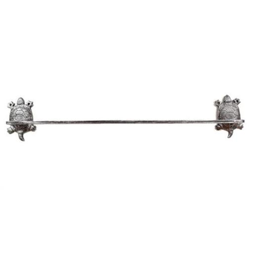 Handcrafted Model Ships K-9047-T-Silver Cast Iron Decorative Turtle Bath Towel Holder, Rustic Silver Cast - 26 in.