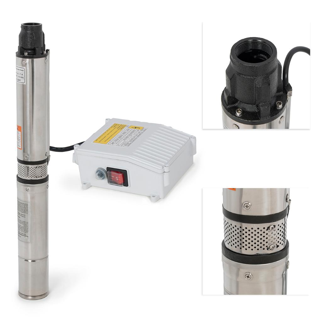 ARKSEN© Deep Well Submersible Pump + Control Box, 1 HP, 110v, 60hz, 33GPM, 200FT Head, Stainless Steel, 4""