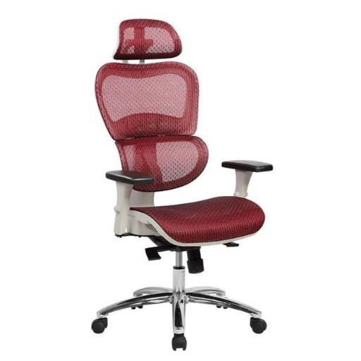 Techni Mobili RTA-5003-RED Deluxe High Back Mesh Office Executive Chair with Neck Support, Red - 47.75-51.5 x 27.5 x 27.75 in.