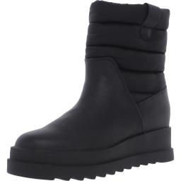 Steve Madden Womens Barrel Leather Ankle Winter Boots