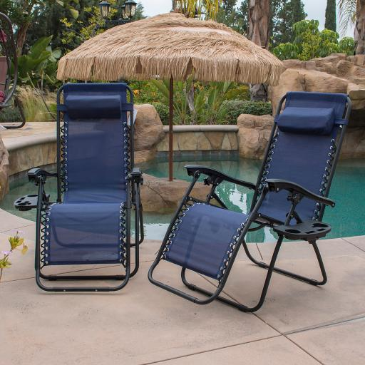 BELLEZE Lounge Patio Zero Gravity Chairs (Set of 2) Utility Tray Cup Holder Adjustable Headrest Recliner Yard, Navy Blue