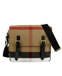 Burberry Unisex Camel House-Check Canvas Messenger Bag 4020246
