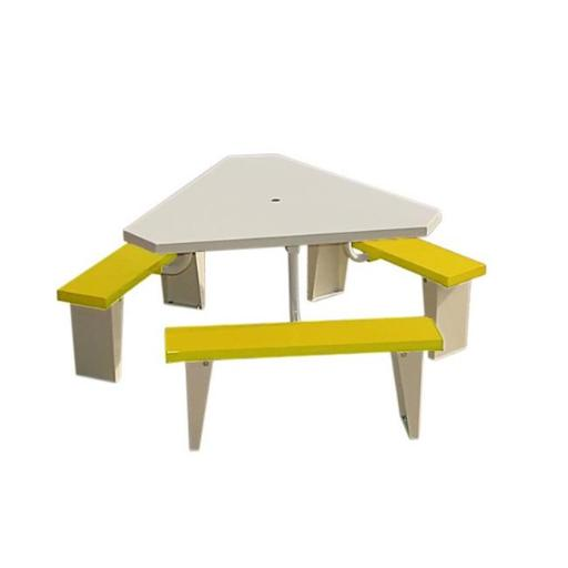 Prairie View PIC49TRI-Y 6 Seats Aluminum Triangular Picnic Table, Yellow - 30 x 74 x 74 in.